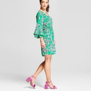 Target A New Day Tiered Sleeve Green Floral Dress.